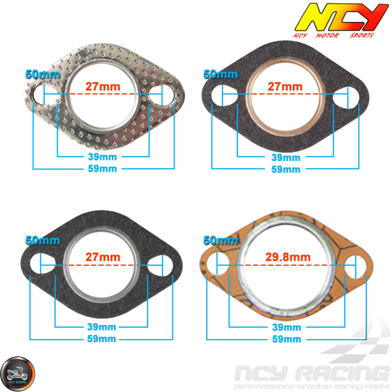 NCY Exhaust Gasket 27mm Steel (QMB, GY6, Universal)