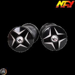 NCY Throttle Grip 7/8in Aluminum Rhinestone Black Set (GY6, Ruckus, Universal)