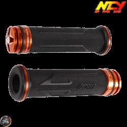 NCY Throttle Grip 7/8in Aluminum Rhinestone Orange Set (GY6, Ruckus, Universal)