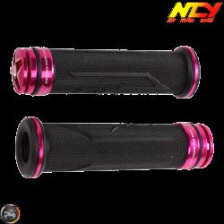 NCY Throttle Grip 7/8in Aluminum Rhinestone Pink Set (GY6, Ruckus, Universal)