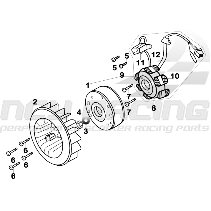 flywheel and stator